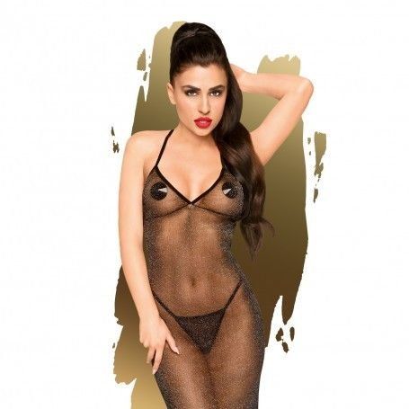 PENTHOUSE LOVE ON FIRE CHEMISE AND THONG BLACK