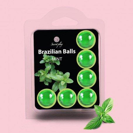 BOLAS LUBRIFICANTES BEIJÁVEIS BRAZILIAN BALLS SABOR A MENTA 6 x 4GR